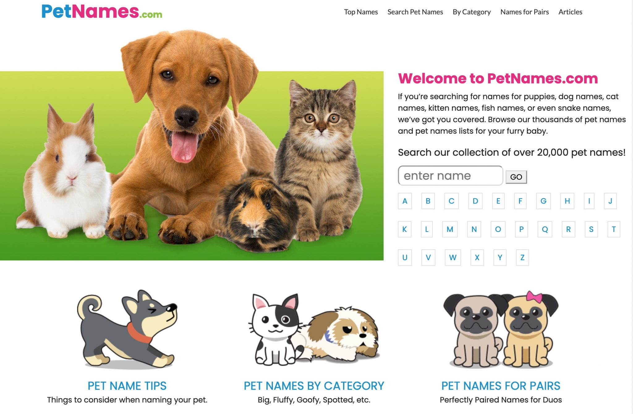 PetNames.com Screenshot